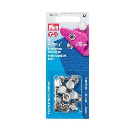 Recharge boutons pression Jersey 12mm Prym Argent Calotte perle