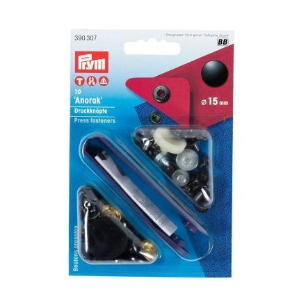 Boutons pression anorak 15mm avec outil Prym calotte vernie Noir