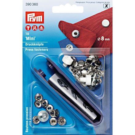 Boutons pression Mini laiton 8 mm avec outil Prym Argent