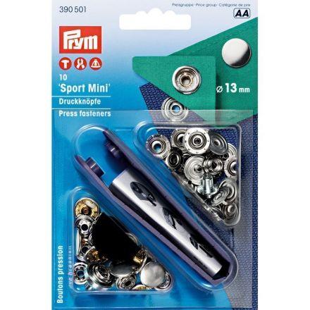 Boutons pression sport mini 13mm avec outil Prym Argent
