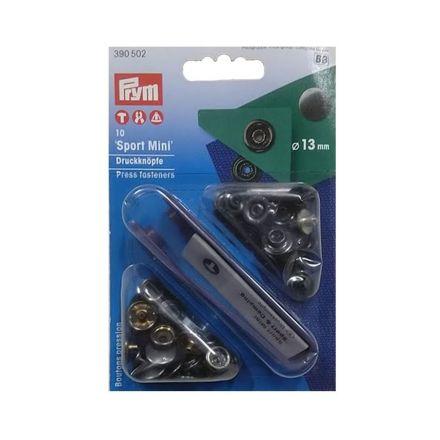 Boutons pression sport mini 13mm Noir avec outil Prym