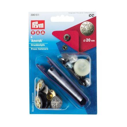 Boutons pression anorak  20mm Prym Argent mat