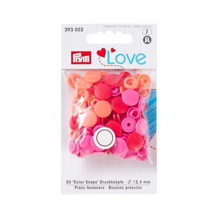Boutons pression Prym Colors Snaps Love rouge - Sachet 30 boutons