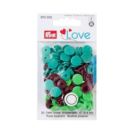 Assortiment de boutons pression Prym Love ColorSnaps - Calotte lisse vert/brun/vert clair