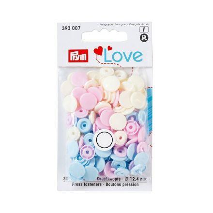 Boutons pression Prym Colors Snaps Love rose - Sachet 30 boutons