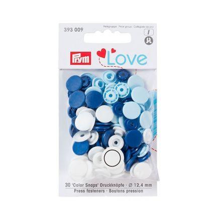 Assortiment de boutons pression Prym Love ColorSnaps - Calotte lisse bleu/blanc/bleu clair