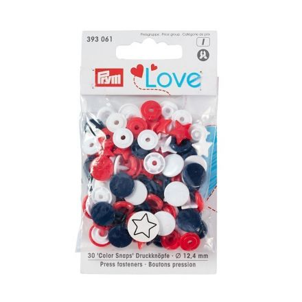 Assortiment de boutons pression Prym Love ColorSnaps - Calotte étoile rouge / blanc / marine