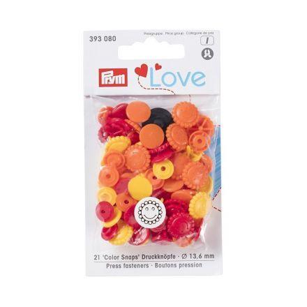 Boutons pression Prym Colors Snaps Love fleur orange et jaune - Sachet 30 boutons