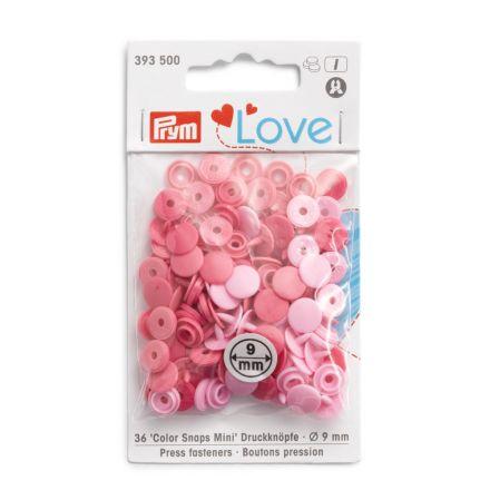 Boutons pression Prym Colors Snaps Mini Love 9mm Rose - Sachet 36