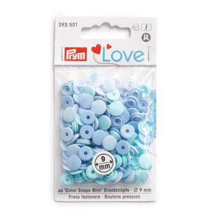 Boutons pression Prym Colors Snaps Mini Love 9mm Bleu - Sachet 36