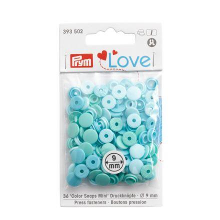 Boutons pression Prym Colors Snaps Mini Love 9mm Menthe - Sachet 36