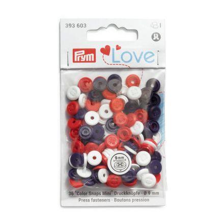 Boutons pression Prym Colors Snaps Mini Love 9mm Optique couture Rouge et bleu - Sachet 36
