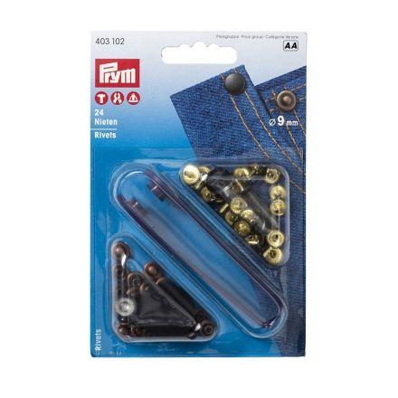 Rivets laiton utilisables des deux côtés 9mm Prym cuivre antique/bruni
