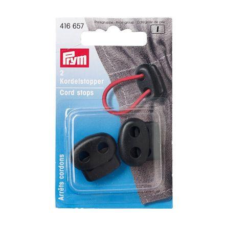 Arrêts de cordons en plastique à deux trous Prym Noir