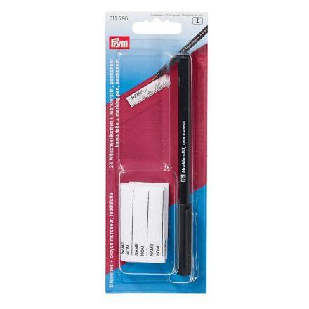 Crayon indélébile avec 24 étiquettes Prym Noir