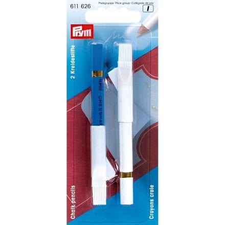 Crayons craie avec brosse à effacer 11 cm Prym Bleu