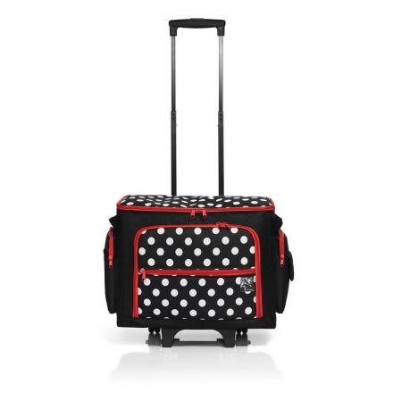 Valise roulante pour machine à coudre à Pois noir/blanc Prym
