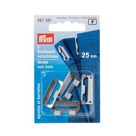 Agrafes et barrettes plates pour jupes à coudre acier Prym Argent - 3 tailles