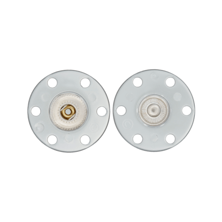 Bouton Pression polyester/métal Blanc - 2 Tailles
