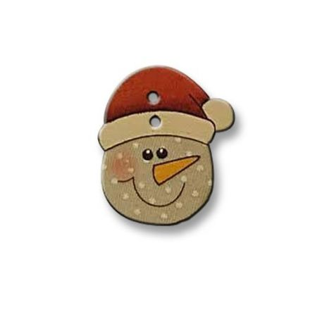 Bouton tête bonhomme de neige en bois 30 mm