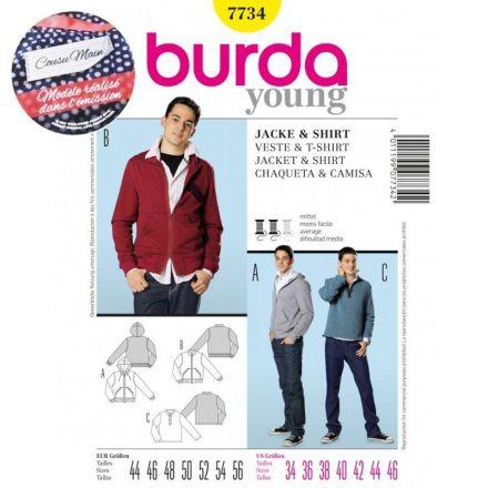 Patron Veste et T-Shirt Burda Cousu Main 7734