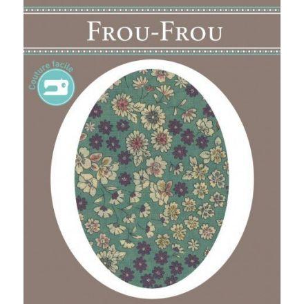 Genouillères-coudières thermocollantes Fleuri Frou-Frou Vert pâle et ecru