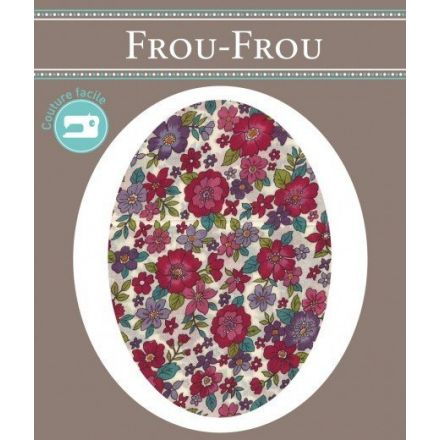 Genouillères-coudières thermocollantes Fleuri Frou-Frou Ecru, framboise et violet