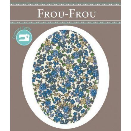 Genouillères-coudières thermocollantes Fleuri Frou-Frou Ecru et bleu