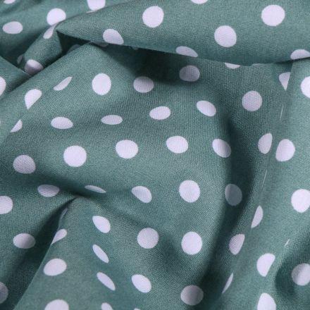 Tissu Coton imprimé Pois blanc sur fond Vert d'eau - Par 10 cm