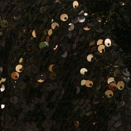 Tissu Sequins réversible dorés sur fond Noir - Par 10 cm