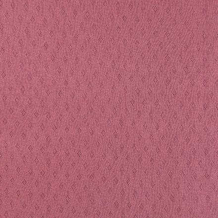 Tissu Jersey Coton ajouré Losanges Lie de vin - Par 10 cm