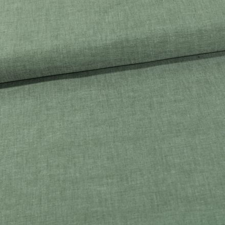 Tissu Chambray Coton uni Vert Olive - Par 10 cm