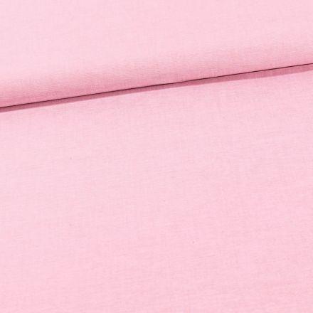 Tissu Chambray Coton uni Rose - Par 10 cm