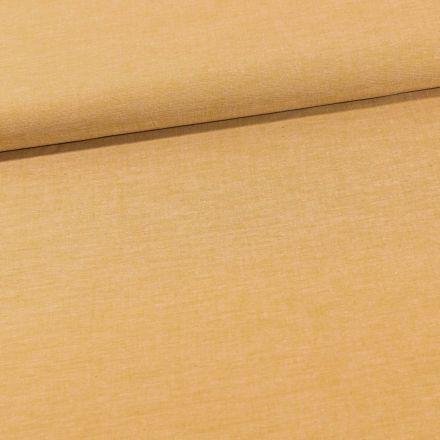 Tissu Chambray Coton uni Jaune Moutarde - Par 10 cm