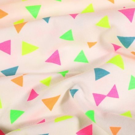 Tissu Jersey coton Triangles Fluo sur fond Blanc - Par 10 cm