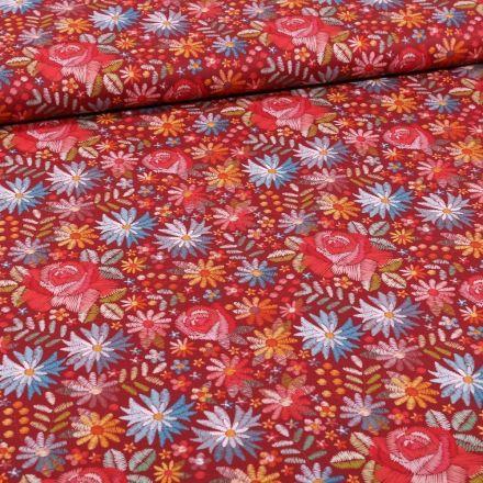 Tissu Coton imprimé Rose et pâquerettes sur fond Bordeaux - Par 10 cm