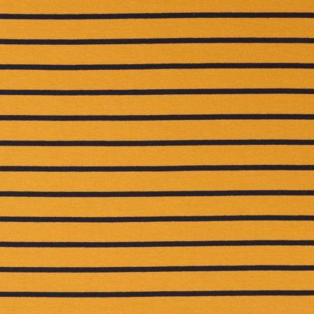 Tissu Jersey Rayé Bleu Marine sur fond Moutarde - Par 10 cm