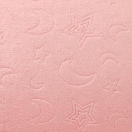 Tissu Doudou Lunes et Etoiles Rose Bébé - Par 10 cm