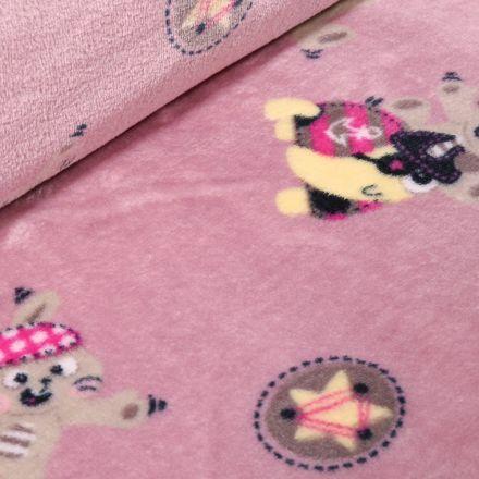 Tissu Doudou Lapins et tortues sur fond Rose - Par 10 cm