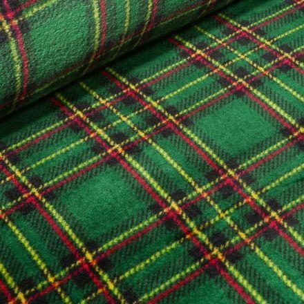 Tissu Doudou Ecossais sur fond Vert - Par 10 cm