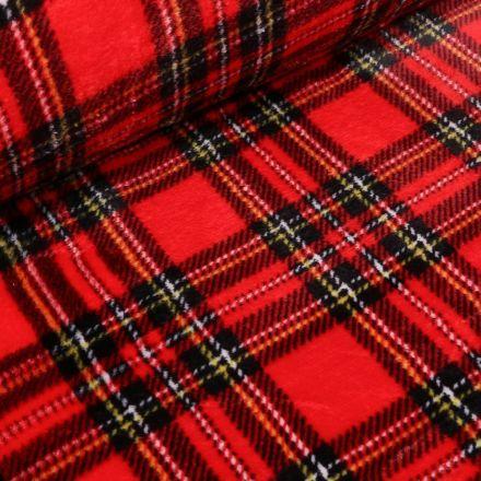 Tissu Doudou Ecossais sur fond Rouge - Par 10 cm
