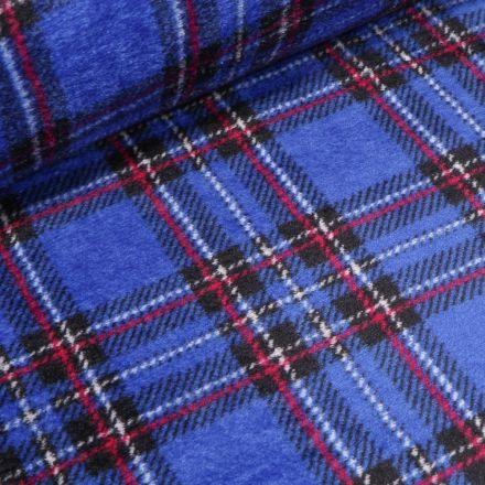 Tissu Doudou Ecossais sur fond Bleu - Par 10 cm