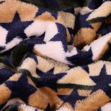 Tissu Doudou Rayures et étoiles sur fond Beige - Par 10 cm