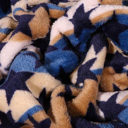 Tissu Doudou Rayures et étoiles sur fond Bleu - Par 10 cm