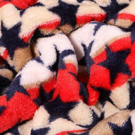 Tissu Doudou Rayures et étoiles sur fond Rouge - Par 10 cm