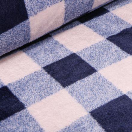 Tissu Doudou Carreaux bleus sur fond Blanc - Par 10 cm