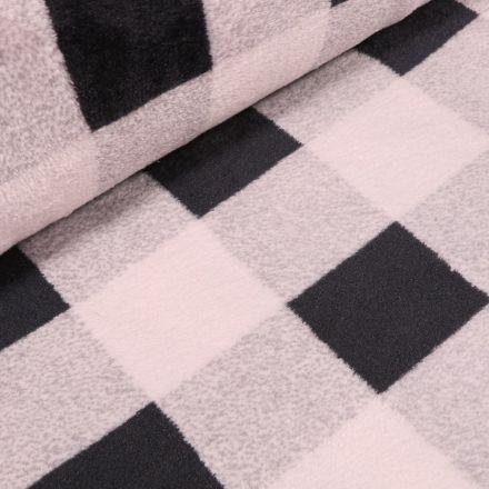 Tissu Doudou Carreaux noirs sur fond Blanc - Par 10 cm