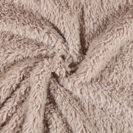 Tissu Fausse fourrure Emma Taupe - Par 10 cm