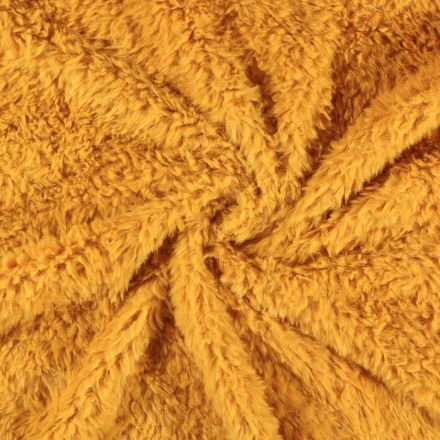 Tissu Fausse fourrure Emma Jaune moutarde - Par 10 cm