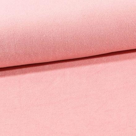 Tissu Jersey Velours Eponge Rose - Par 10 cm
